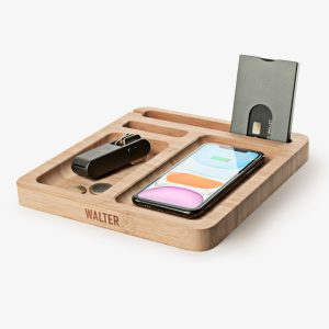 Walter Bamboo Single Dock met Wireless Charger - Walter Wallet