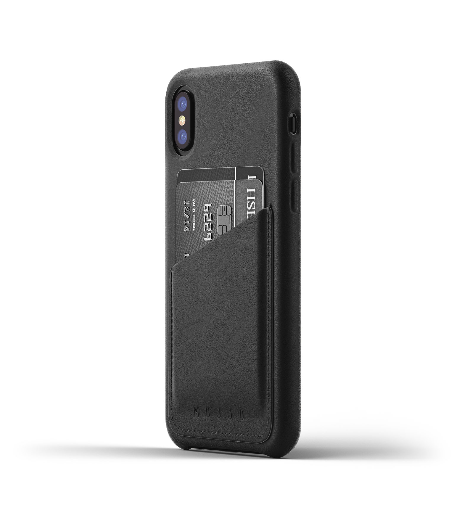 Mujjo Full Leather Wallet Case for iPhone X - Black