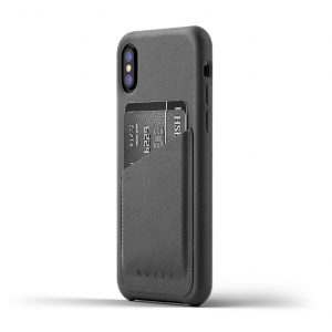 Mujjo Full Leather Wallet Case for iPhone X - Gray