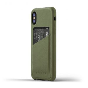 Mujjo Full Leather Wallet Case for iPhone X - Olive
