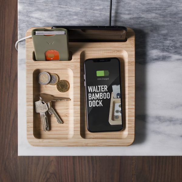 Walter Bamboo Dock met Wireless Charger - Oplaadstation + Aluminium Wallet Black Combi
