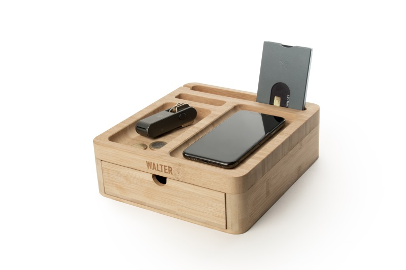 walter big dock bamboo charger bureau oplader hout